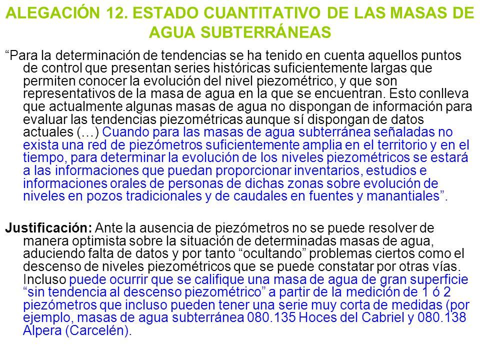 ALEGACIÓN 12. ESTADO CUANTITATIVO DE LAS MASAS DE AGUA SUBTERRÁNEAS