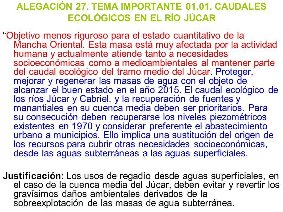 ALEGACIÓN 27. TEMA IMPORTANTE 01. 01