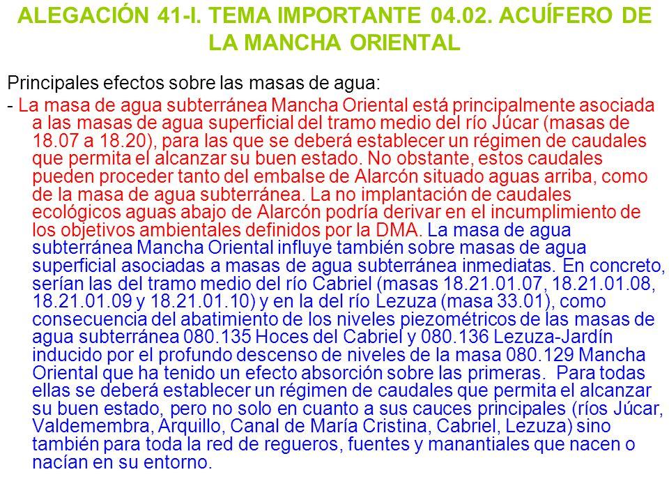 ALEGACIÓN 41-I. TEMA IMPORTANTE 04.02. ACUÍFERO DE LA MANCHA ORIENTAL