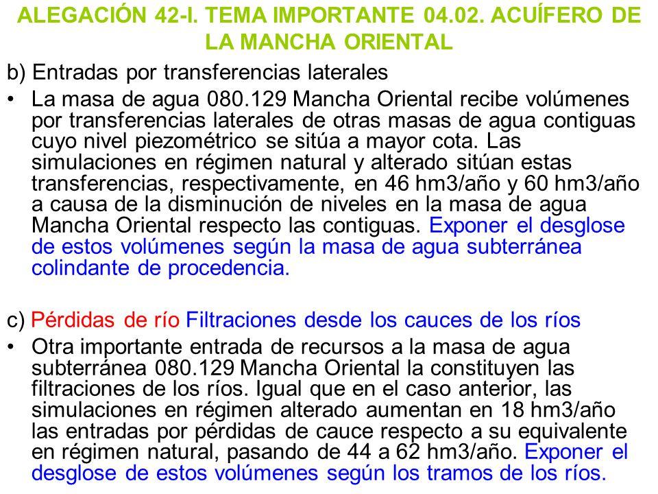 ALEGACIÓN 42-I. TEMA IMPORTANTE 04.02. ACUÍFERO DE LA MANCHA ORIENTAL