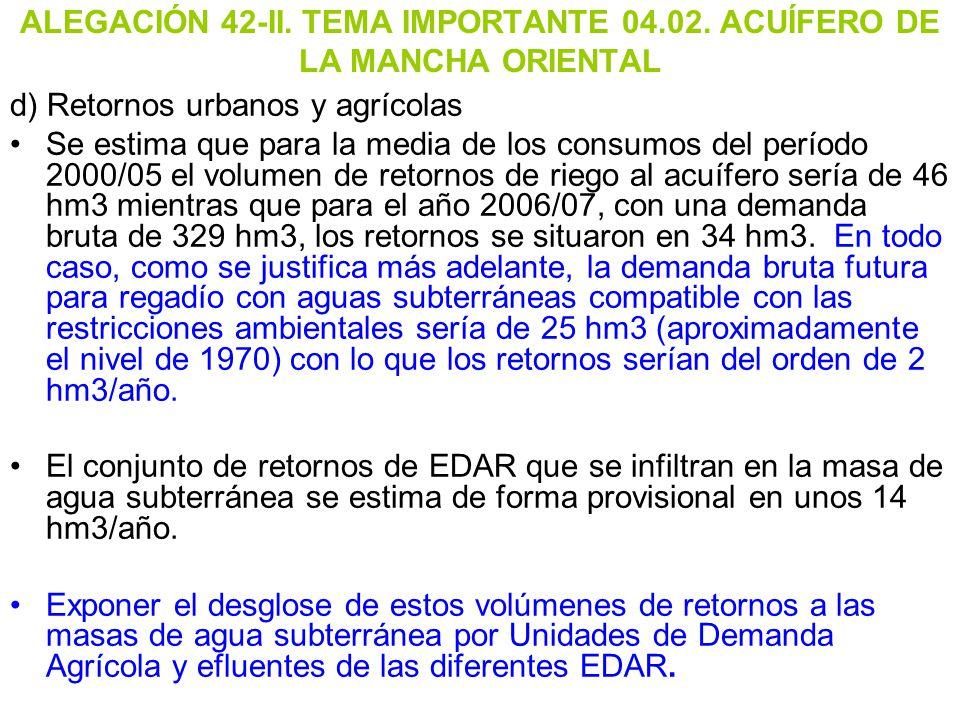 ALEGACIÓN 42-II. TEMA IMPORTANTE 04.02. ACUÍFERO DE LA MANCHA ORIENTAL