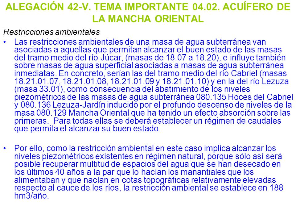 ALEGACIÓN 42-V. TEMA IMPORTANTE 04.02. ACUÍFERO DE LA MANCHA ORIENTAL