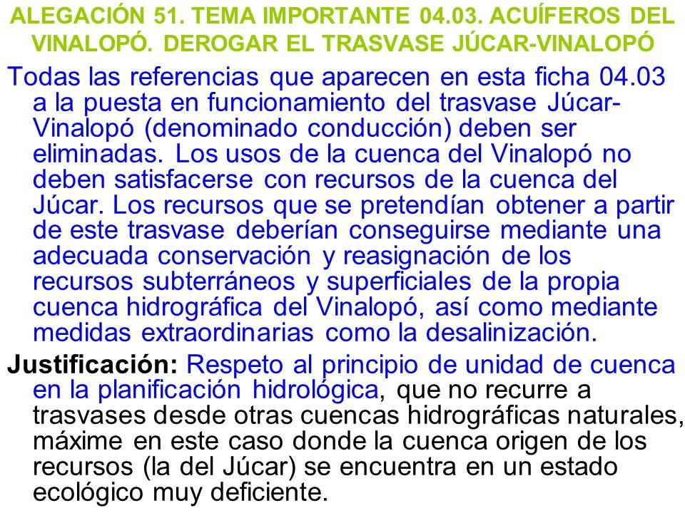 ALEGACIÓN 51. TEMA IMPORTANTE 04. 03. ACUÍFEROS DEL VINALOPÓ