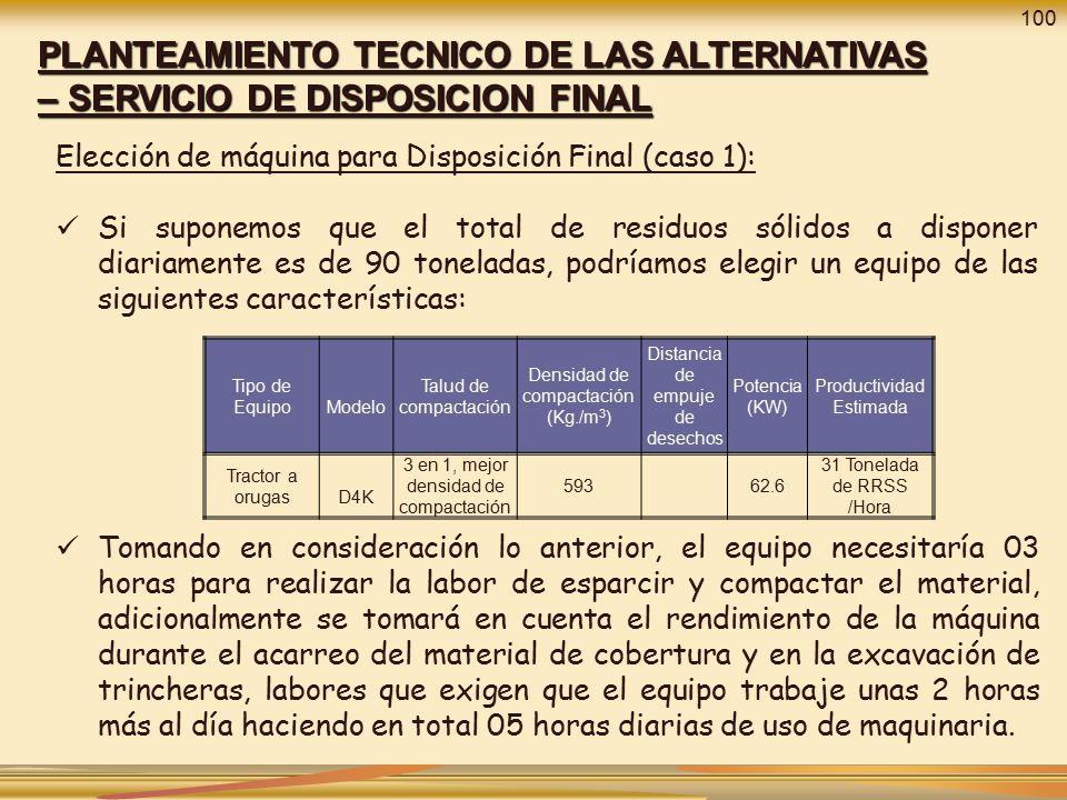 100 PLANTEAMIENTO TECNICO DE LAS ALTERNATIVAS – SERVICIO DE DISPOSICION FINAL. Elección de máquina para Disposición Final (caso 1):
