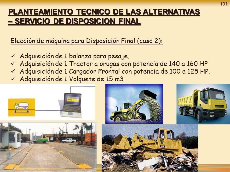 101 PLANTEAMIENTO TECNICO DE LAS ALTERNATIVAS – SERVICIO DE DISPOSICION FINAL. Elección de máquina para Disposición Final (caso 2):