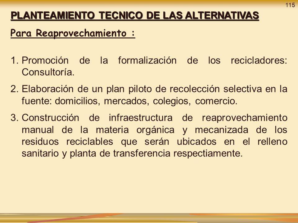 PLANTEAMIENTO TECNICO DE LAS ALTERNATIVAS