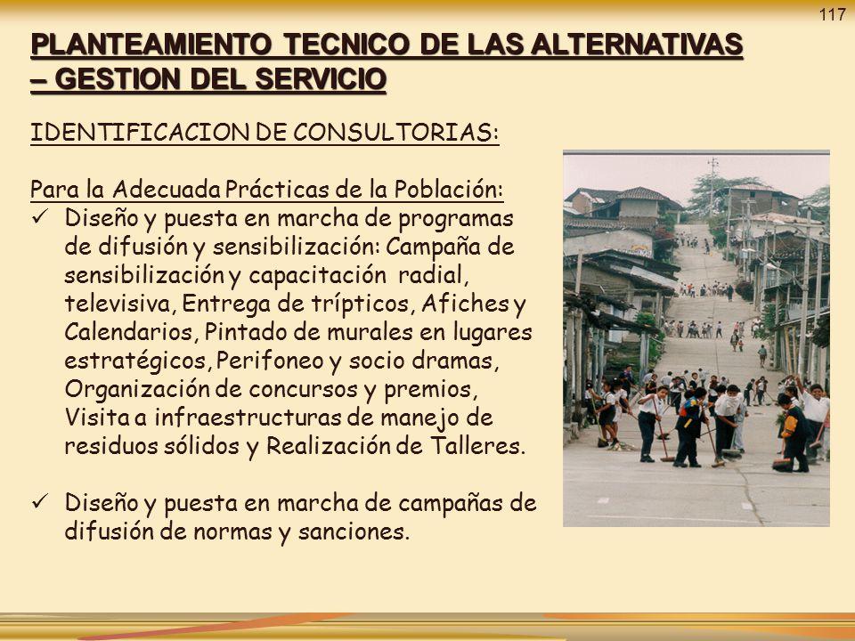 PLANTEAMIENTO TECNICO DE LAS ALTERNATIVAS – GESTION DEL SERVICIO