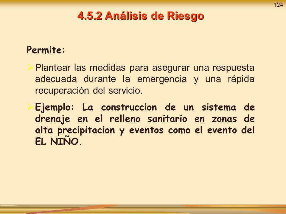 4.5.2 Análisis de Riesgo Permite: