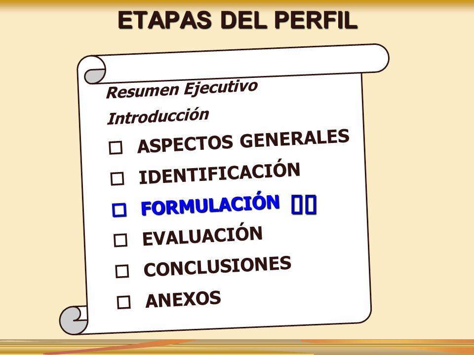 üü ETAPAS DEL PERFIL ASPECTOS GENERALES IDENTIFICACIÓN FORMULACIÓN