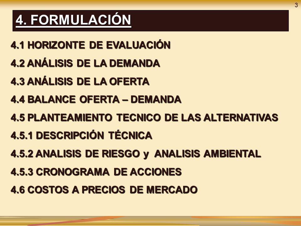 4. FORMULACIÓN 4.1 HORIZONTE DE EVALUACIÓN 4.2 ANÁLISIS DE LA DEMANDA