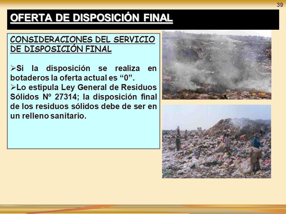 OFERTA DE DISPOSICIÓN FINAL