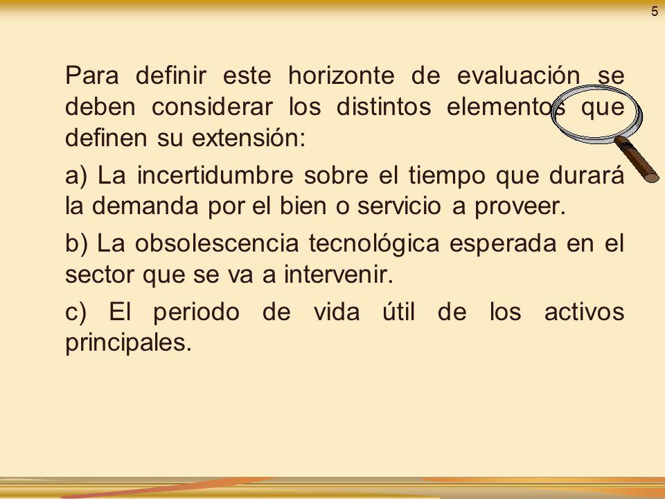 c) El periodo de vida útil de los activos principales.