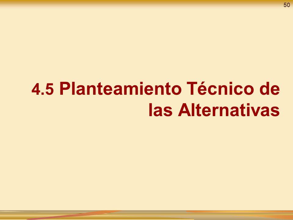 4.5 Planteamiento Técnico de las Alternativas