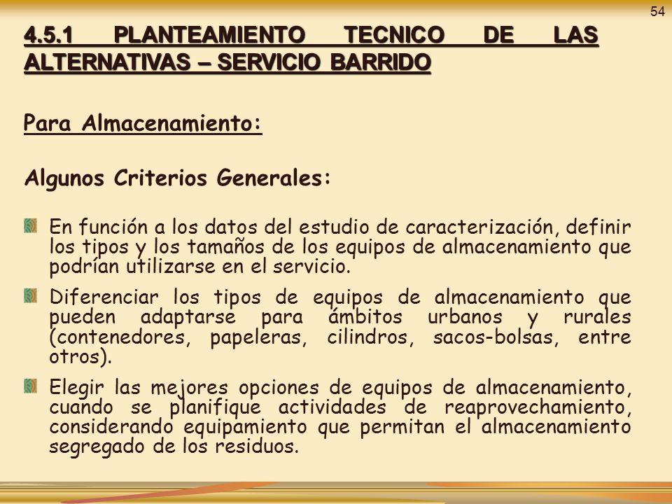 4.5.1 PLANTEAMIENTO TECNICO DE LAS ALTERNATIVAS – SERVICIO BARRIDO