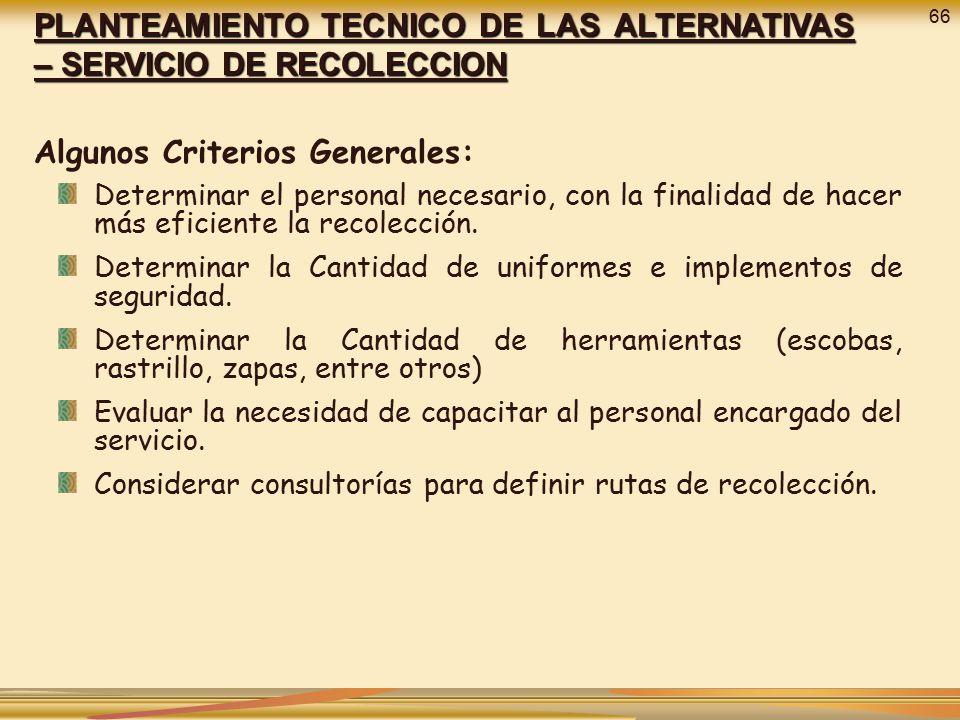 Algunos Criterios Generales: