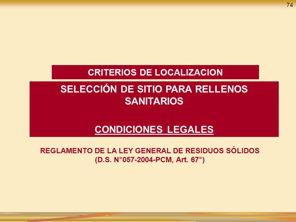 SELECCIÓN DE SITIO PARA RELLENOS SANITARIOS CONDICIONES LEGALES