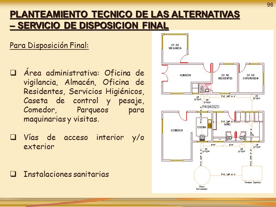 96 PLANTEAMIENTO TECNICO DE LAS ALTERNATIVAS – SERVICIO DE DISPOSICION FINAL. Para Disposición Final: