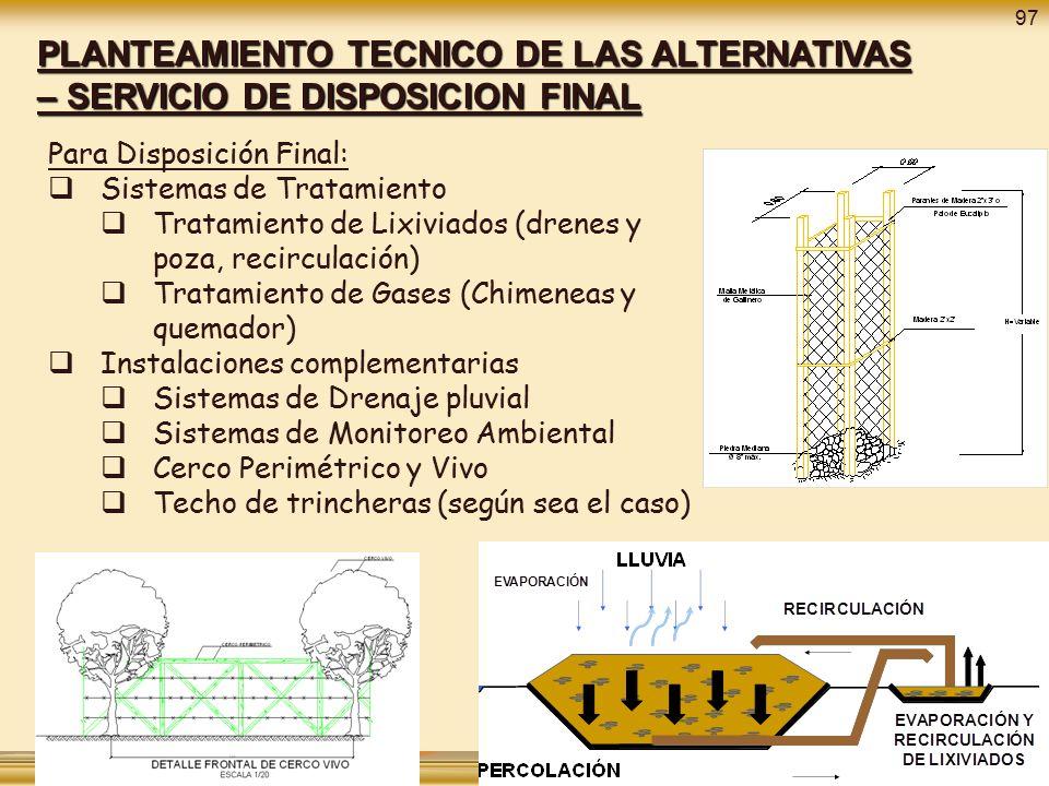 97 PLANTEAMIENTO TECNICO DE LAS ALTERNATIVAS – SERVICIO DE DISPOSICION FINAL. Para Disposición Final: