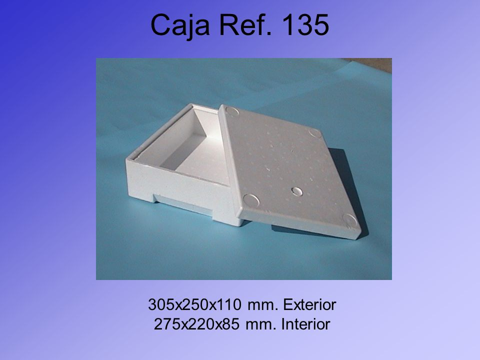Caja Ref. 135 305x250x110 mm. Exterior 275x220x85 mm. Interior