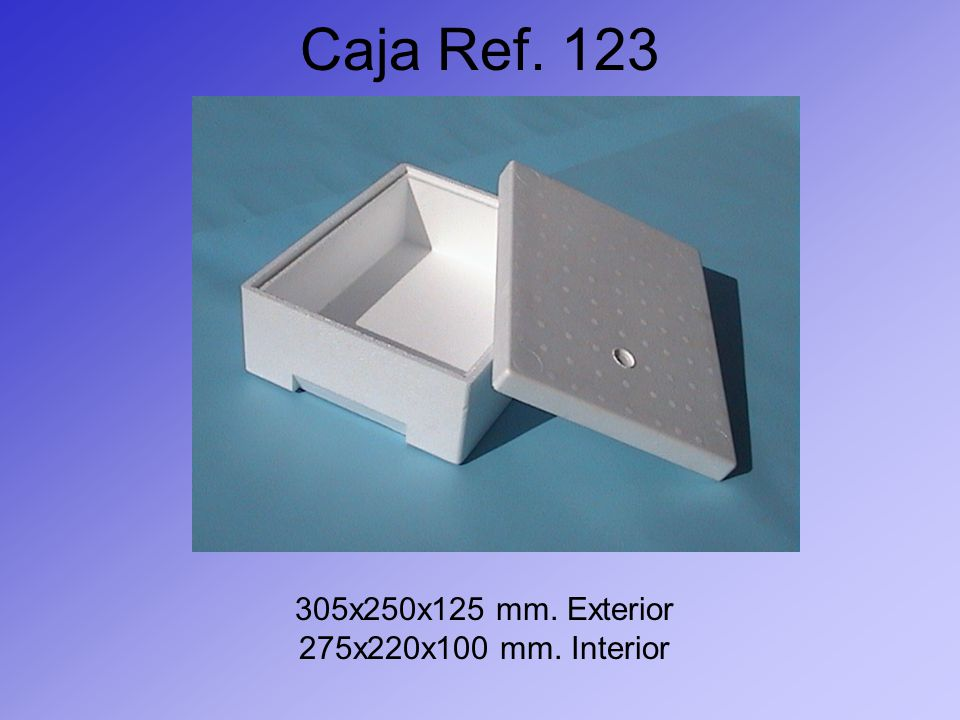 Caja Ref. 123 305x250x125 mm. Exterior 275x220x100 mm. Interior