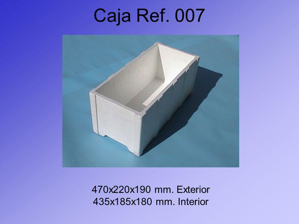 Caja Ref. 007 470x220x190 mm. Exterior 435x185x180 mm. Interior