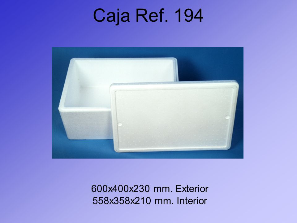 Caja Ref. 194 600x400x230 mm. Exterior 558x358x210 mm. Interior