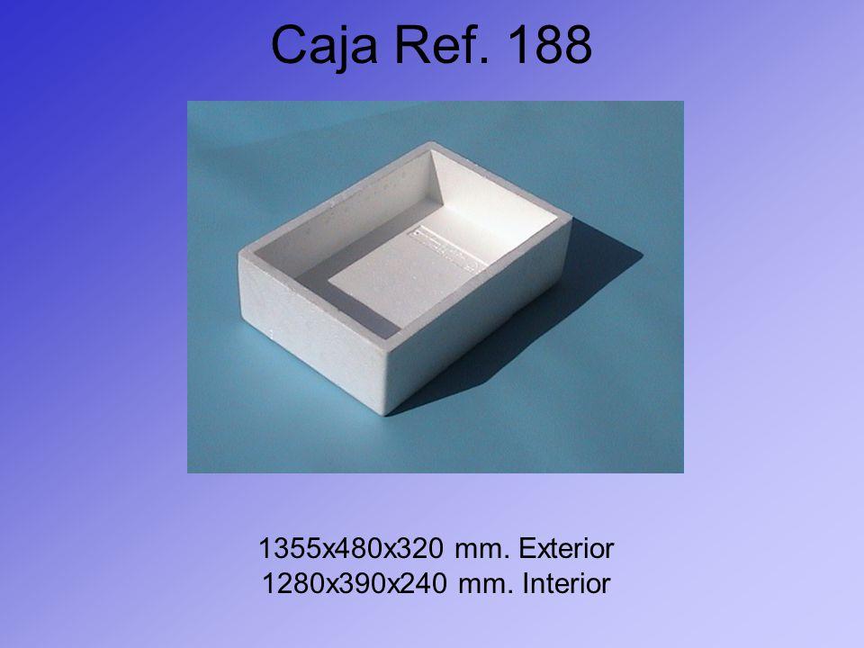 Caja Ref. 188 1355x480x320 mm. Exterior 1280x390x240 mm. Interior