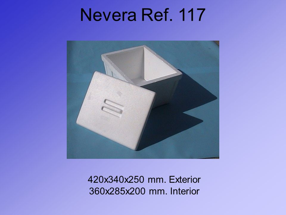 Nevera Ref. 117 420x340x250 mm. Exterior 360x285x200 mm. Interior
