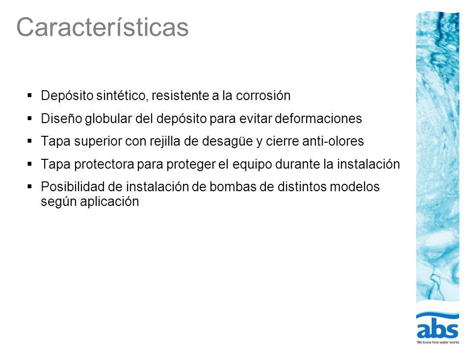 Características Depósito sintético, resistente a la corrosión