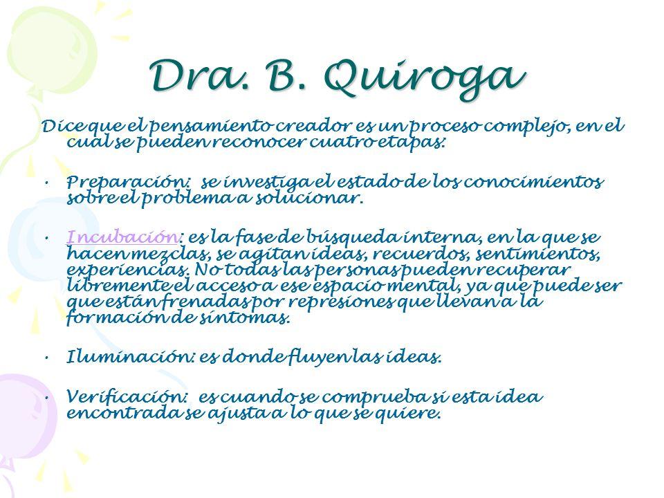 Dra. B. Quiroga Dice que el pensamiento creador es un proceso complejo, en el cual se pueden reconocer cuatro etapas: