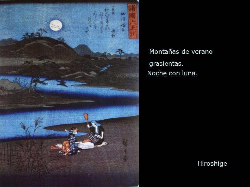 Montañas de verano grasientas. Noche con luna. Hiroshige