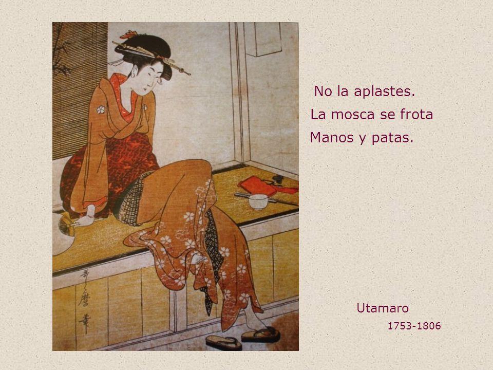 No la aplastes. La mosca se frota Manos y patas. Utamaro 1753-1806