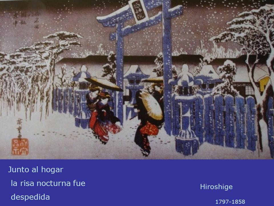 Junto al hogar la risa nocturna fue despedida Hiroshige 1797-1858