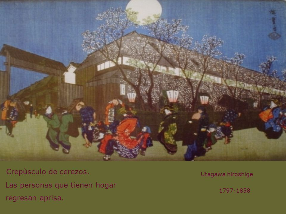 Crepùsculo de cerezos. Utagawa hiroshige Las personas que tienen hogar