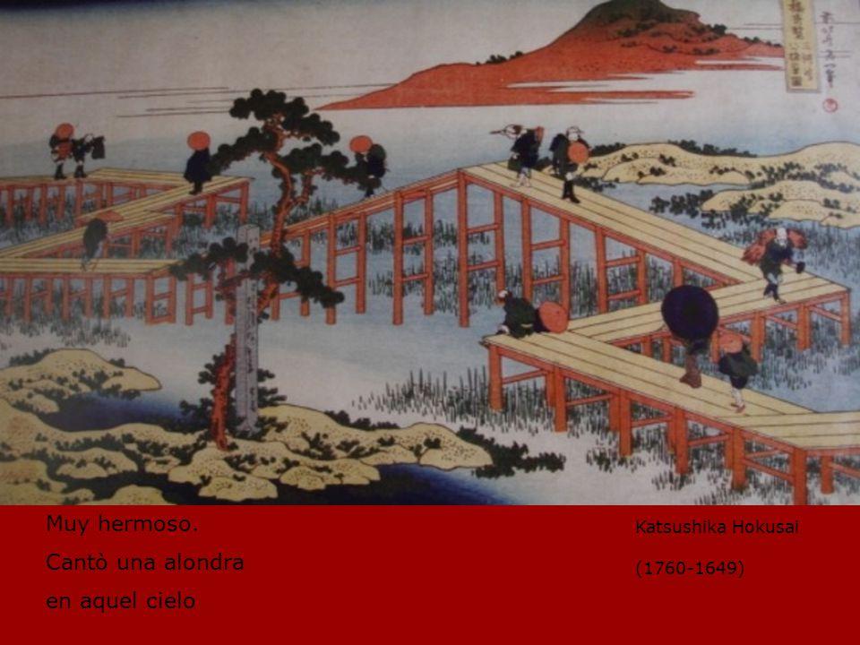 Muy hermoso. Cantò una alondra en aquel cielo Katsushika Hokusai