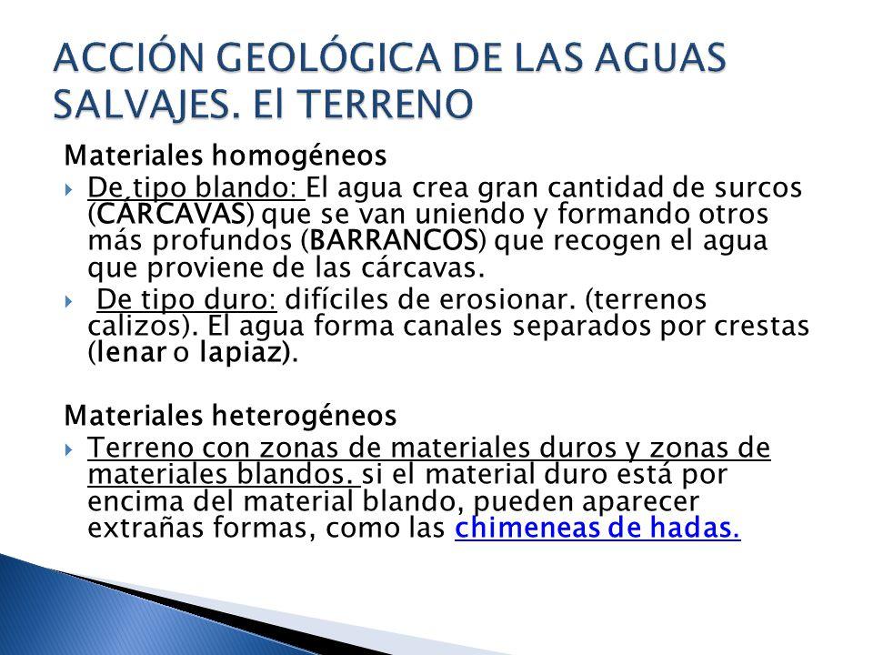 ACCIÓN GEOLÓGICA DE LAS AGUAS SALVAJES. El TERRENO