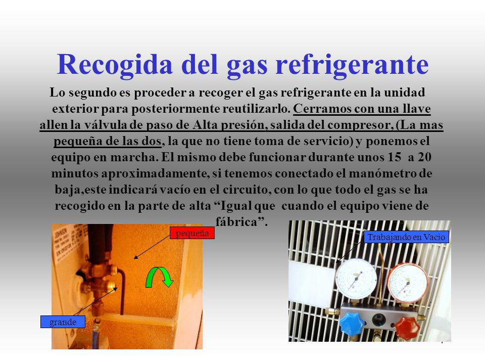 Recogida del gas refrigerante