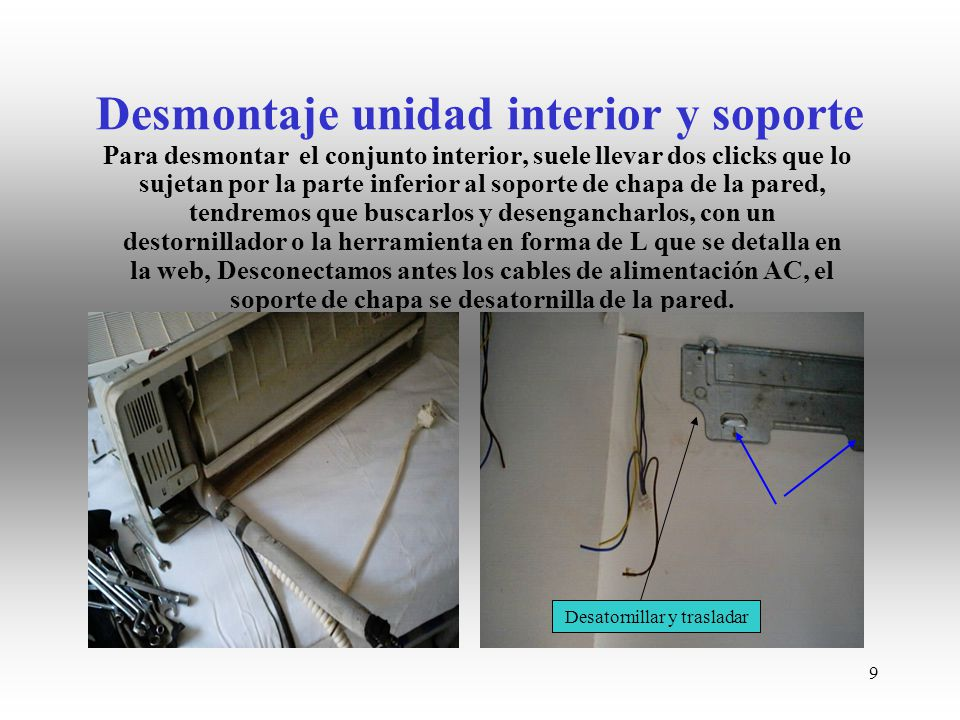 Desmontaje unidad interior y soporte