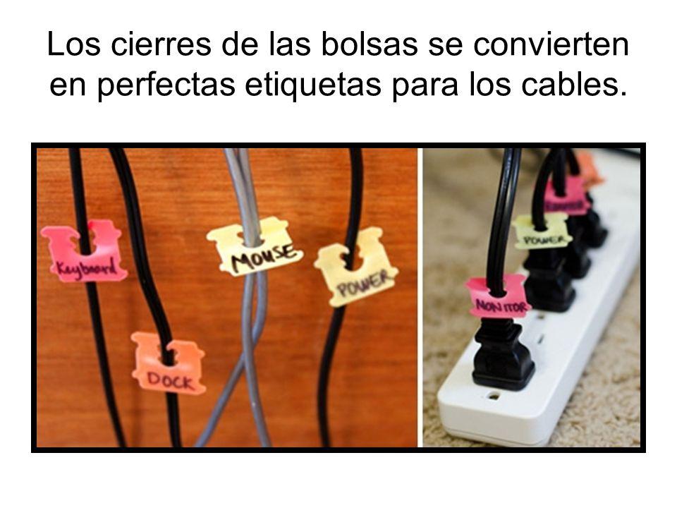 Los cierres de las bolsas se convierten en perfectas etiquetas para los cables.