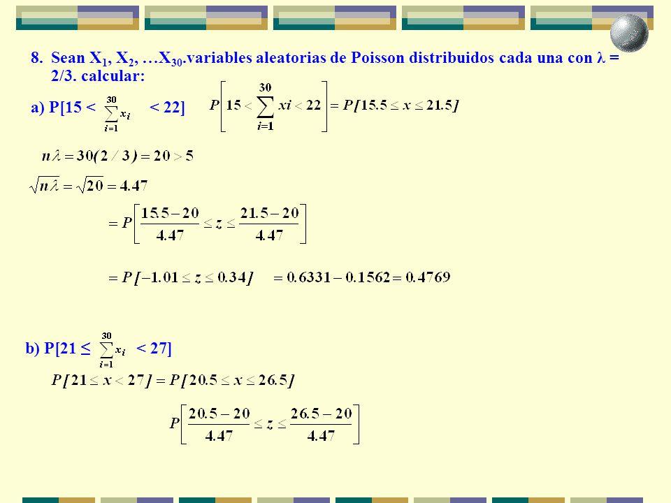 8. Sean X1, X2, …X30.variables aleatorias de Poisson distribuidos cada una con λ = 2/3. calcular: