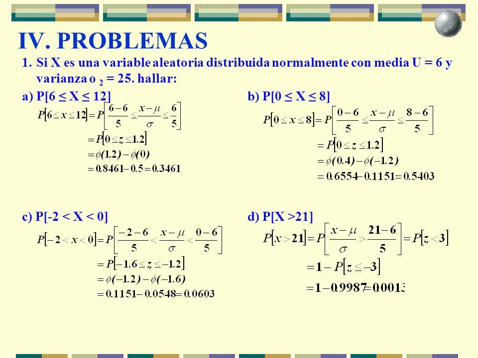 IV. PROBLEMAS 1. Si X es una variable aleatoria distribuida normalmente con media U = 6 y varianza o 2 = 25. hallar: