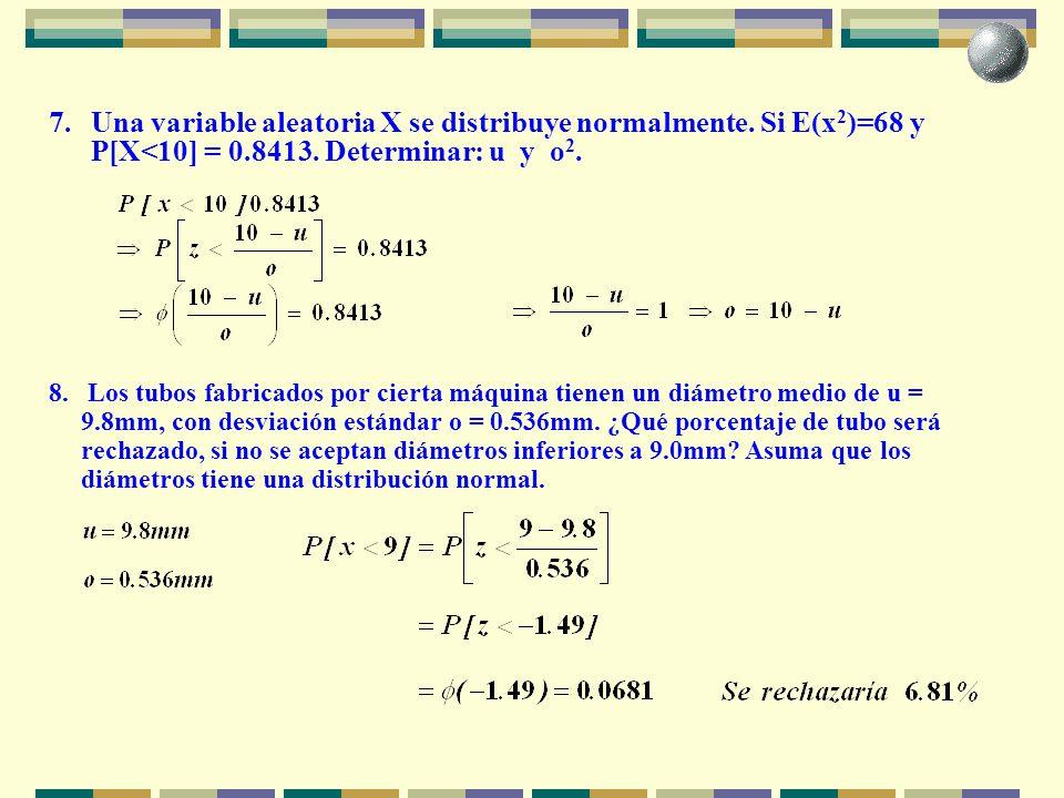 7. Una variable aleatoria X se distribuye normalmente