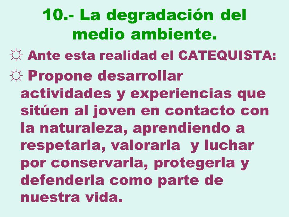10.- La degradación del medio ambiente.