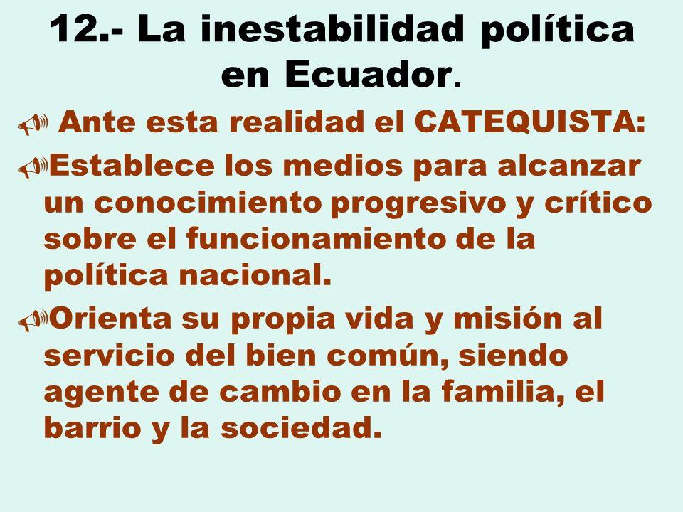 12.- La inestabilidad política en Ecuador.