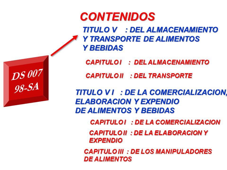 CONTENIDOS DS 007 98-SA TITULO V : DEL ALMACENAMIENTO