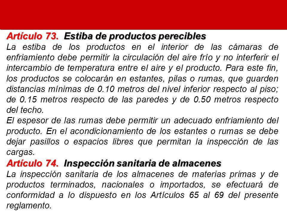 Artículo 73. Estiba de productos perecibles
