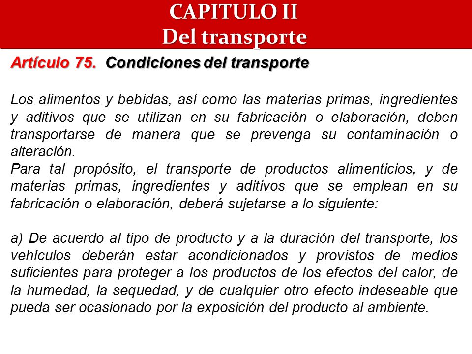 CAPITULO II Del transporte