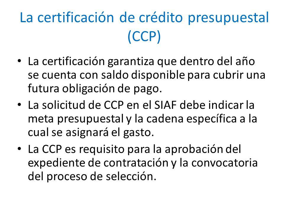 La certificación de crédito presupuestal (CCP)