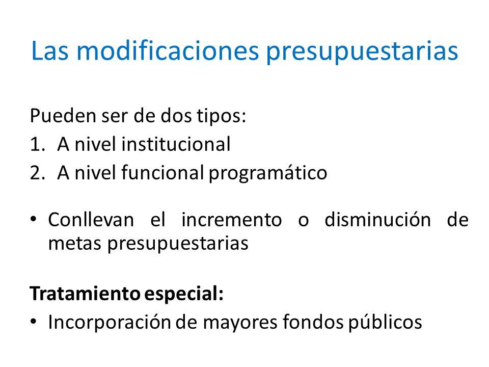 Las modificaciones presupuestarias