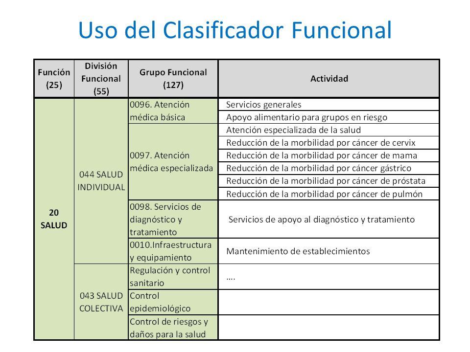 Uso del Clasificador Funcional